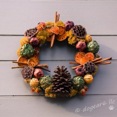 Artichokes, persimmon, dried flowers