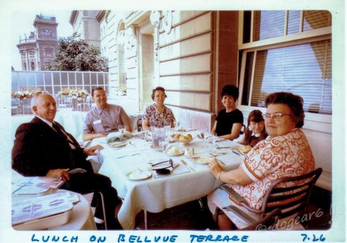 A rare lunch with Grandma and Grandpa (in front); my great-aunt is in back, between my parents; my sister is over to the right.