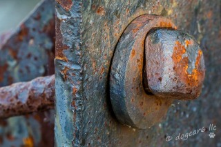 Bolt on a historical hoist on Brown's Island along the James River in Richmond, Virginia