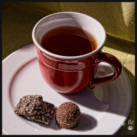 Almond toffee, a truffle and blueberry rooibos tea.