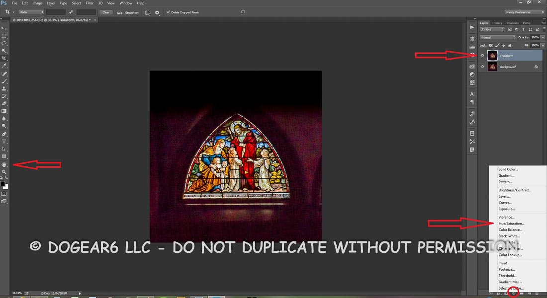 Add in a hue saturation layer in order to darken the background.