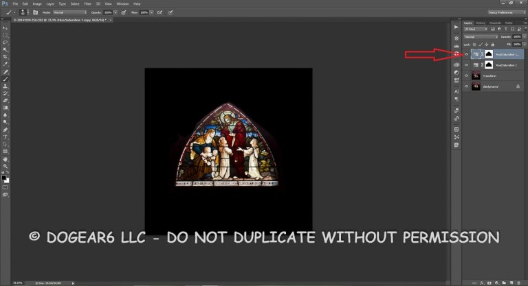 Duplicate the hue / saturation layer to darken the background even more.
