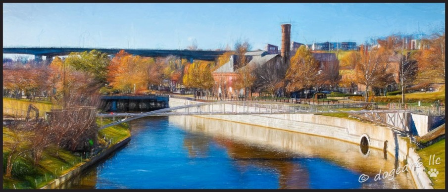 Brown's Island from the bridge over to the island, taken two years ago today.  Located in Richmond, Virginia.  The photo is processed using Topaz labs Impressions.