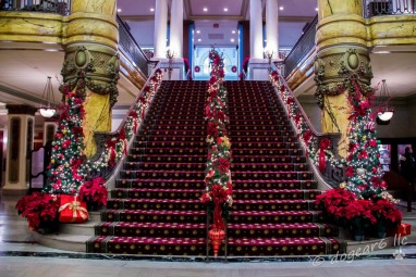 Looking up the staircase during Christmas at the Jefferson Hotel.
