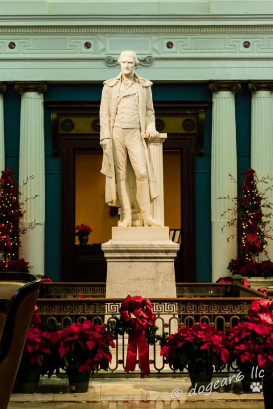 Statute of Thomas Jefferson in the rotunda at the Jefferson Hotel.