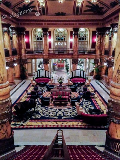 Looking down the staircase at the Jefferson Hotel.