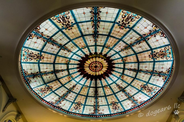 Stained glass in the ceiling of the rotunda at the Jefferson Hotel.