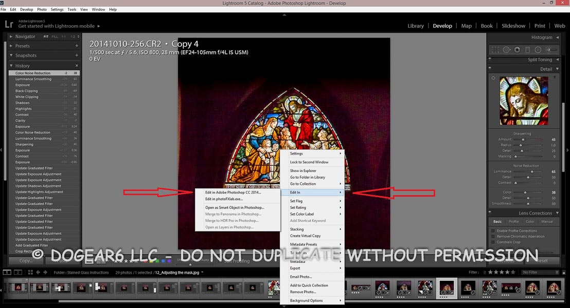 Moving the picture into Adobe Lightroom for editing.