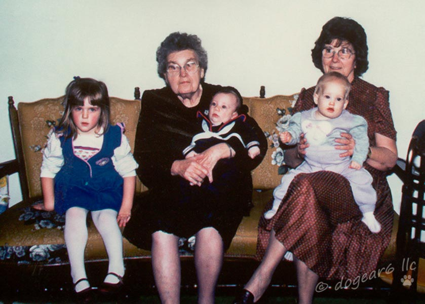 From left:  my daughter, nephew, and cousin's daughter with my grandmother and great-aunt.