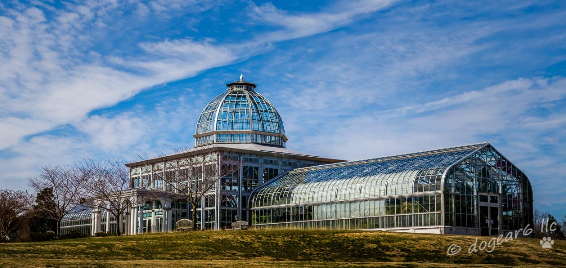 Greenhouse from the side at the Lewis Ginter Botanical Gardens, Richmond, Virginia