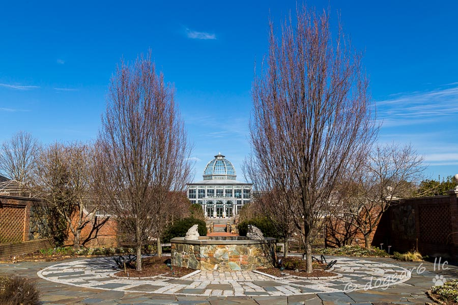 Front view of the greenhouse at the Lewis Ginter Botanical Gardens, Richmond, Virginia