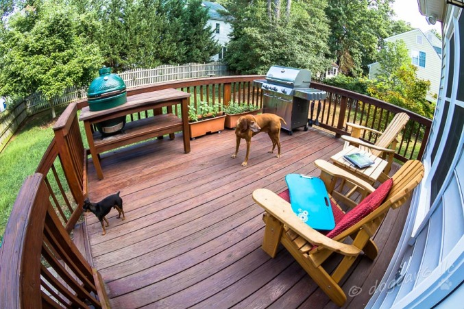 View of the entire deck thanks to my fish eye wide angle lens.